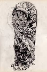 grey ink owl and the grandfather clock tattoos