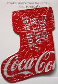 recycled coke can embossed tree ornament handmade