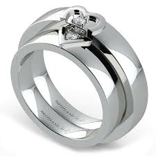 wedding ring sets his and hers white gold matching split heart diamond wedding ring set in white gold