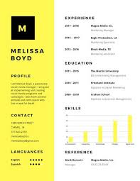 modern resumes 2017 yellow simple modern resume templates by canva