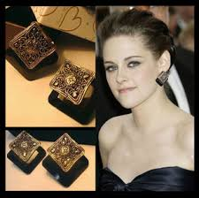 big stud earrings vintage luxury square imitation gem black stud earrings