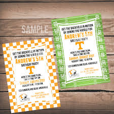 tennessee vols football birthday invitation with checkerboard