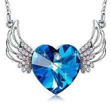 blue heart necklace images Mega creative jewelry angel wings blue heart pendant jpg