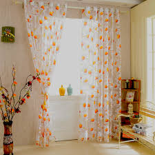 Orange And White Curtains Buy Orange Sheer Panels And Get Free Shipping On Aliexpress