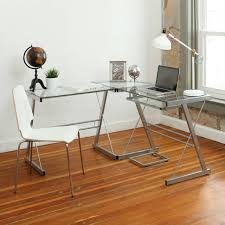 walker edison corner computer desk walker edison l shaped glass top computer desk in silver ebay