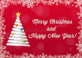 merry christmas and happy new year card white on red backgroun