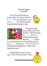 english worksheets qu words