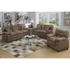 px poundex bobkona colona 3 piece sofa set in dark brown