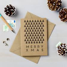 brown christmas cards pack of 9 scandi graphic tree charity christmas cards says i do