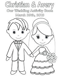 coloring pages girls kids bride groom wedding free printable