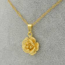 girl with gold necklace images Anniyo charms flower pendant necklace thin chain gold color jpg
