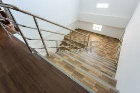 Stainless Steel Banisters Staircase In Residential House With Stainless Steel Banister