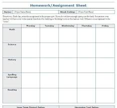 how to layout school work school assignment sheet template blue layouts