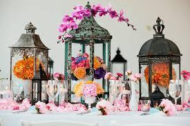 pink spring wedding centerpieces with lanterns