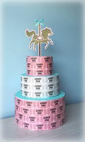 Tiffany Blue Baby Shower Cake - carnival birthday carousel birthday ticket cake centerpiece
