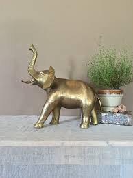 14 large brass elephant vintage brass figurines