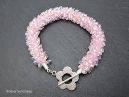 pink beads bracelet images Baby pastel pink beaded braided woven petals kumihimo seed bead png
