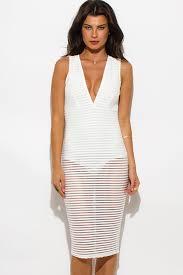 shop ivory white sheer stripe mesh low v neck bodysuit bodycon