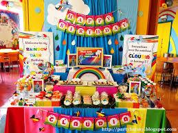 interior design rainbow themed birthday party decorations home