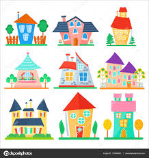 cute cartoon houses collection funny colorful kid vector house