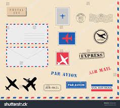 set mail envelopes postpostage stamps postal stock vector