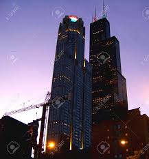 Sears Tower The Chicago Sears Tower At Night Stock Photo Picture And Royalty