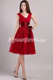 junior prom dresses v neckline knee length red junior prom dress