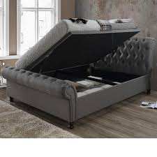 Grey Sleigh Bed Scroll Bed Frames Happy Beds