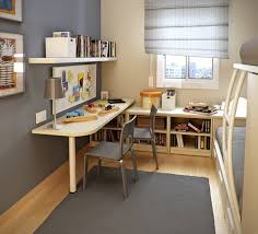 small kids room with l shaped study desk and bunk beds child