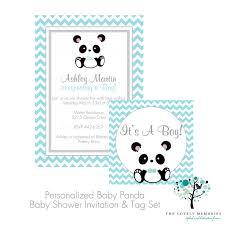 its a boy chic blue baby panda bear baby shower invitation