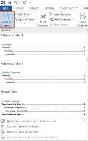 Create Table Of Contents In Word 2013 Create Table Of Contents In Word 2013
