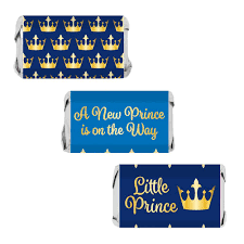 prince baby shower blue and gold prince baby shower mini candy bar stickers
