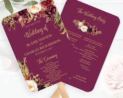 fan programs for weddings wedding program fan etsy