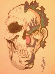 half skull half clown combined by gbftattoos on deviantart