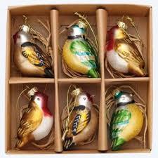tree decorations glass birds holliday decorations