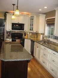 granite countertop white kitchen cabinet door retro refrigerator