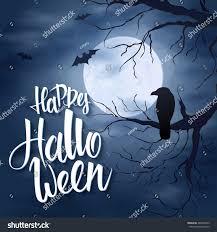 halloween raven background vector halloween poster hand lettering greetings stock vector