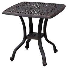 Bronze Accent Table Outdoor End Table Patio Furniture Cast Aluminum Metal Bronze Side