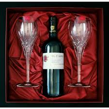 wine sets set 2 wine glasses and bottle of wine in gift