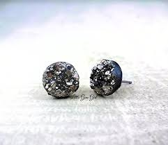 druzy stud earrings small black druzy stud earrings 8mm or 10mm or 12mm