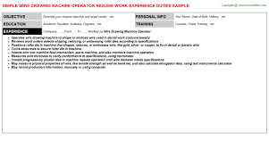 wire drawing machine operator resume sample