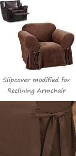 slipcover for recliner chair reclining chair slipcover suede chocolate sure fit armchair cover