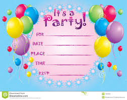 blue color birthday card invitation templates colorful ballon pink