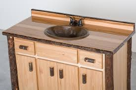 Glass Top Vanity Bathroom by Hickory Log Bathroom Vanities Rustic Cabin Style Hickory