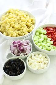 easy greek pasta salad with veggies yellow bliss road
