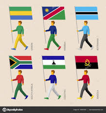 Image Of South African Flag People With Flags Gabon Namibia Botswana South Africa