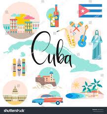 Cuban Map Cuba Map Attraction Sights Travel Concept Stock Vector 466450922