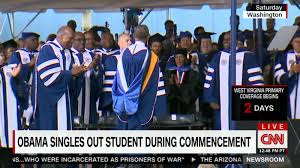 obama singles out student during commencement speech cnn video