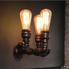 Edison Bulb Wall Sconce Industrial Pipe Wall Sconce In Bronze Copper Finish With Edison