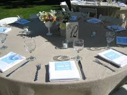 standard party table size burlap linen white standard napkin this table is set for ten